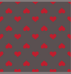 hearts seamless red gray background pattern vector image vector image