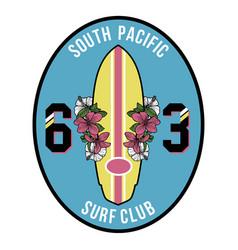 vintage surfboard badge vector image