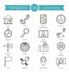 16 Navigation Line Icons vector