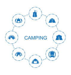 8 camping icons vector