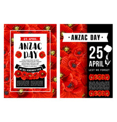 Anzac day poster with poppy flower black ribbon vector