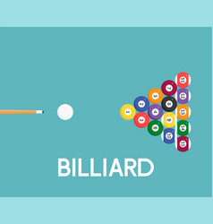 billiard ball icon and cue stick for use as flyer vector image
