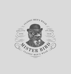 Bird vintage label vector