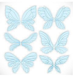 Blue fairy wings with dotted outline for cutting vector