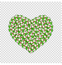 candy heart made of green and white lollipops and vector image