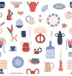ceramic tableware flat seamless pattern vector image