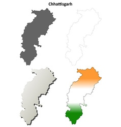 Chhattisgarh blank detailed outline map set vector image