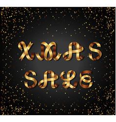 christmas sale gold sign on black background vector image