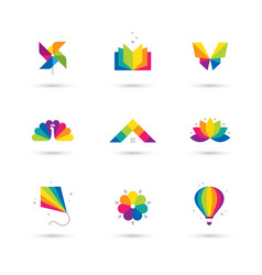 Colorful icons set on white background vector