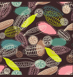 Colorful stylized cacao pods seamless vector