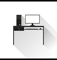 Computer desk long shadows vector image