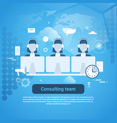 Consulting team technical support template web vector