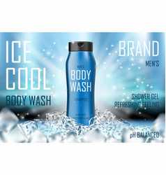 Cooling men body wash gel with ice cubes elements vector