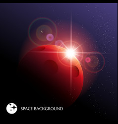 cosmic background with planet and star rising vector image