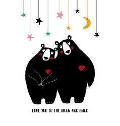 Couple of black bears in love vector