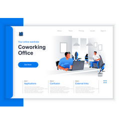 coworking office isometric landing page vector image