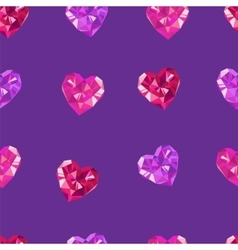Crystal hearts purple pattern vector