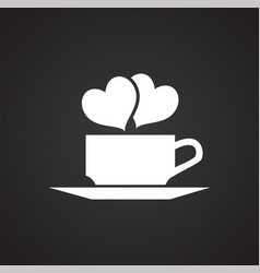 Cup with hearts on black background vector