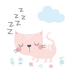 cute cartoon cat in scandinavian vector image