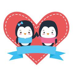 cute couple penguin animals heart love ribbon vector image