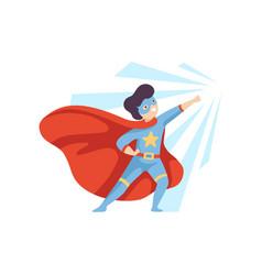 Cute heroic boy wearing superhero costume super vector