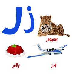 Cute kids cartoon alphabet letter j with vector