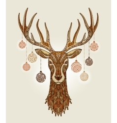 Decorative christmas deer with ornament and vector image