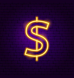 Dollar neon sign vector