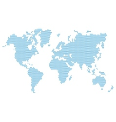 Dotted Blue World Map Isolated on White vector image