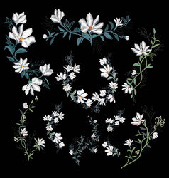 Embroidery floral pattern with magnolia on black vector