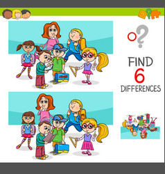 Find differences with school children characters vector