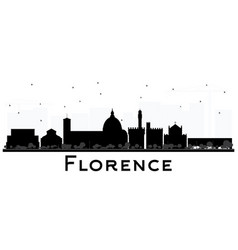 Florence italy city skyline silhouette with black vector