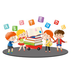 Four kids and books on wagon vector