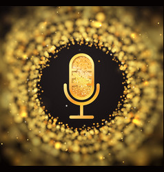 golden retro microphone icon on blurred abstract vector image