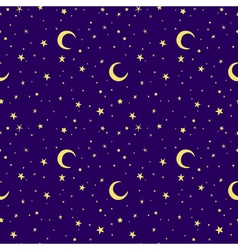 Golden yellow moon and stars sky print seamless vector image