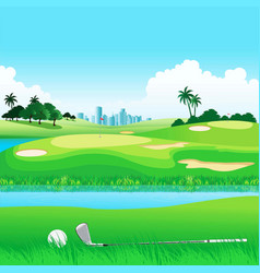 Golf course on landscape vector