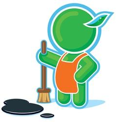 Green hero doing cleaning job vector