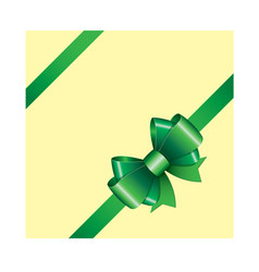 green ribbon bow 05 vector image