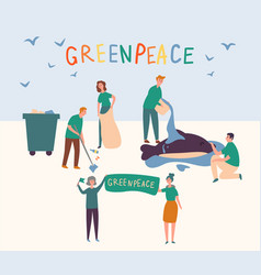 greenpeace people set clean up land save animal vector image