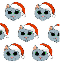 Grey cat with red christmas hat vector