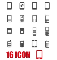 grey mobile phone icon set vector image