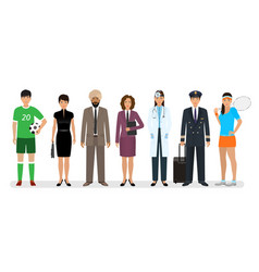 group of seven people with different occupation vector image