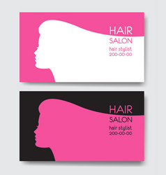 Hair salon business card templates with beautiful vector