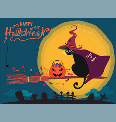 Halloween card with cute black cat riding on a vector