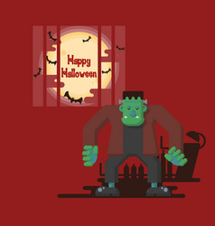 halloween frankenstein standing under the moon vector image
