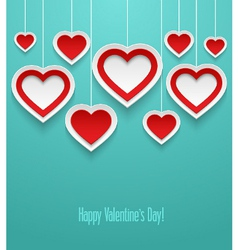 Hanging valentines hearts vector