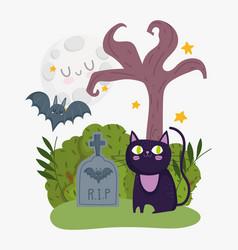 happy halloween black cat bat tombstone moon tree vector image