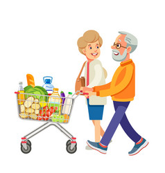 happy old people shopping retired couple vector image