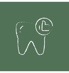 Healthy tooth icon drawn in chalk vector image