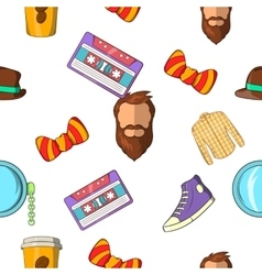 Hipster pattern cartoon style vector